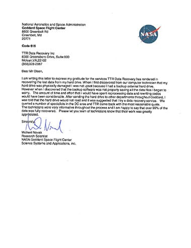 NASA Letter of Recommendation | TTR Data Recovery