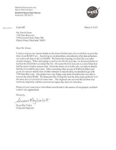 Data Recovery Reston VA Testimonials 3 Reston | TTR Data Recovery